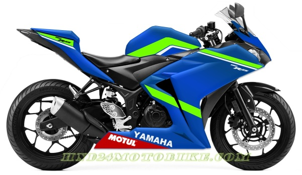 Yamaha R25 Blue Green fluo